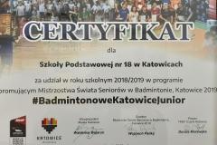 Certyfikat-Badminton