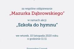 dyplom szkoła do hymnu 13-11-2020